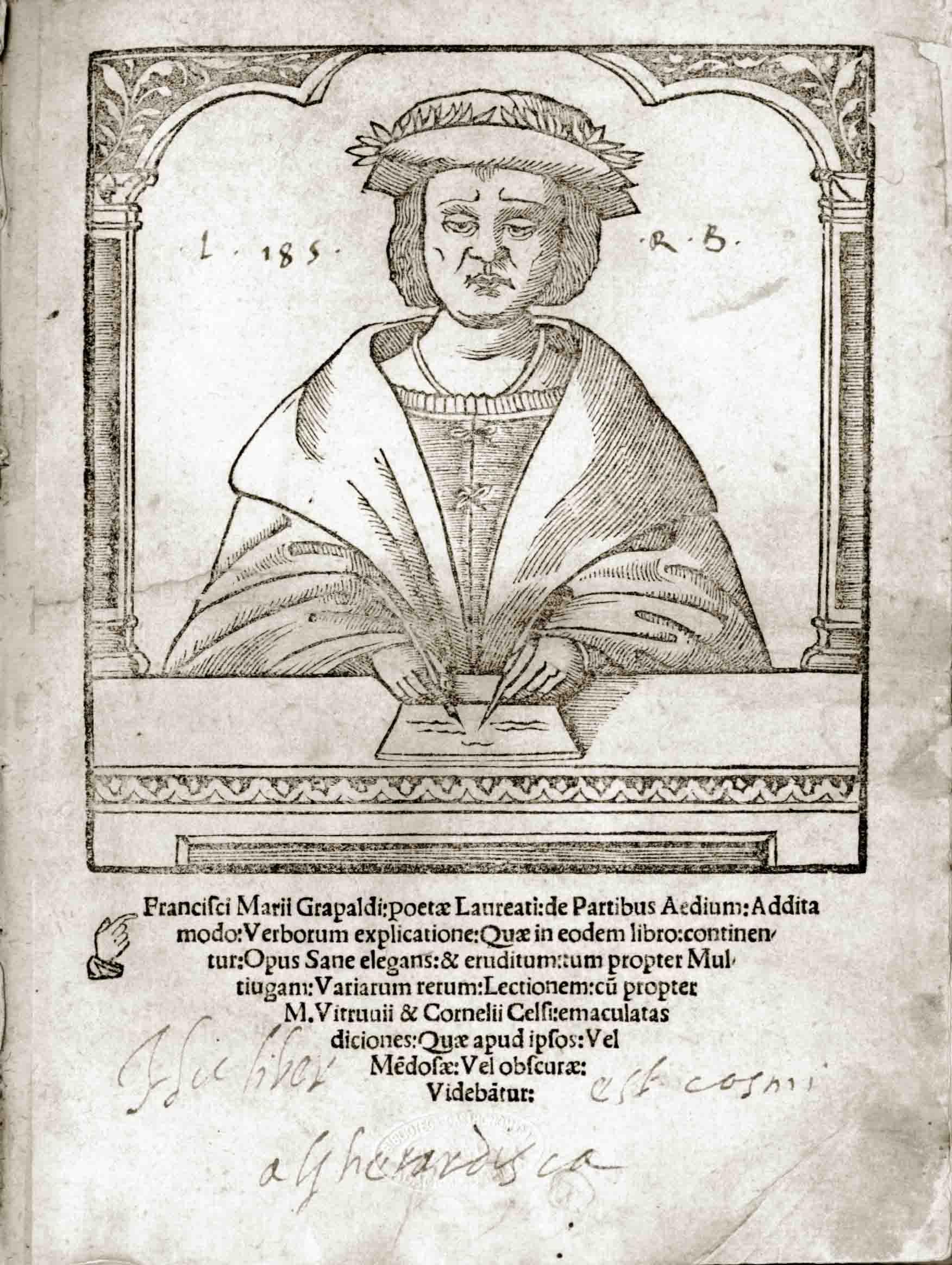 11a. Ritratto di Francesco Maria Grapaldo dal frontespizio del De partibus aedium (Biblioteca Gastronomica Academia Barilla).