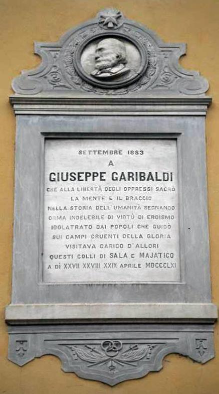 13. La targa marmorea che ricorda la vista di Garibaldi a Sala Baganza e Maiatico dal 27 al 29 aprile 1861.
