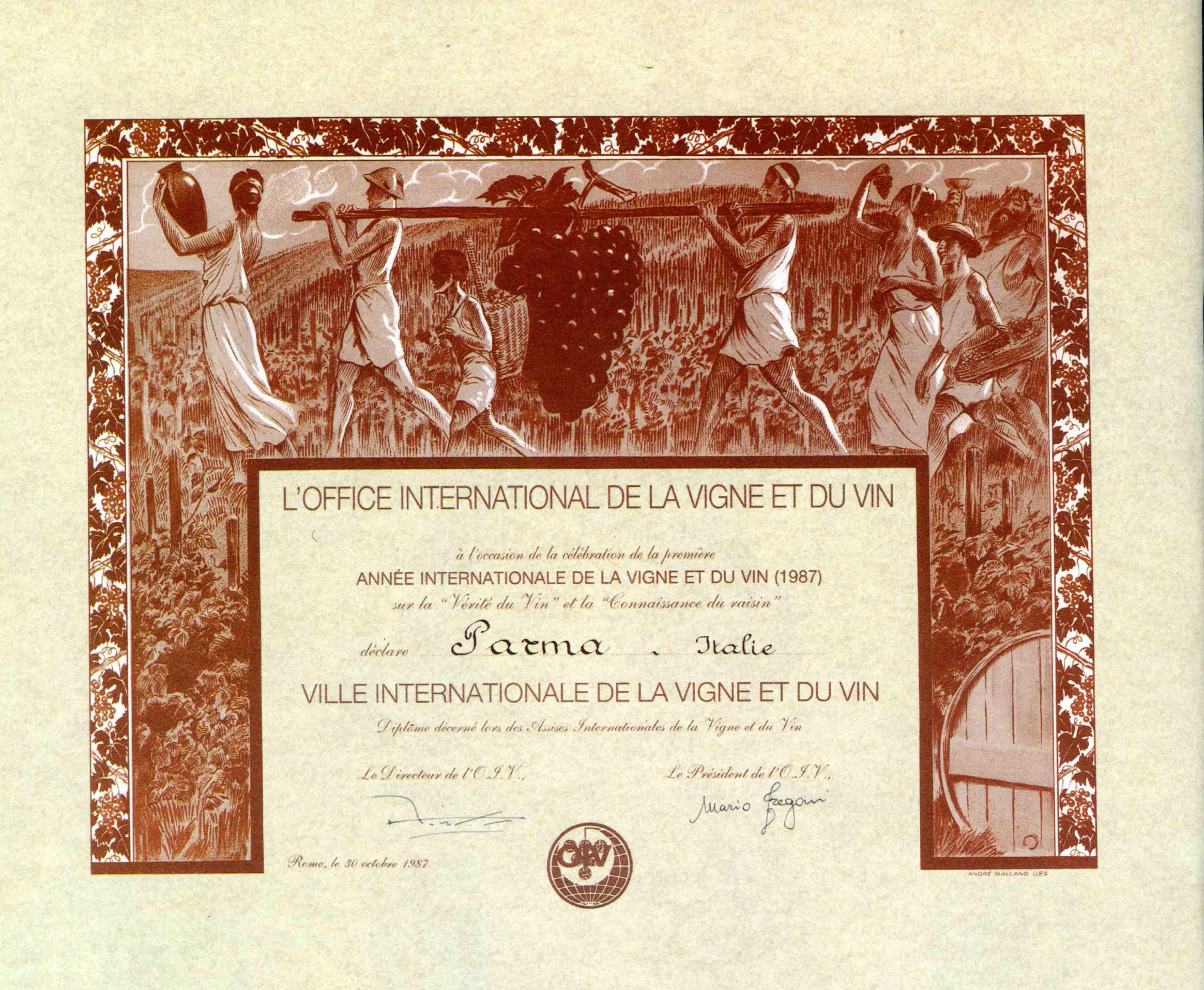 16. Il 30 ottobre 1987 l'Office International de la Vigne et du Vin (OIV) iscriveva Parma tra le città internazionali della vite e del vino, riconoscendone il valore storico della tradizione e la qualità dei prodotti.