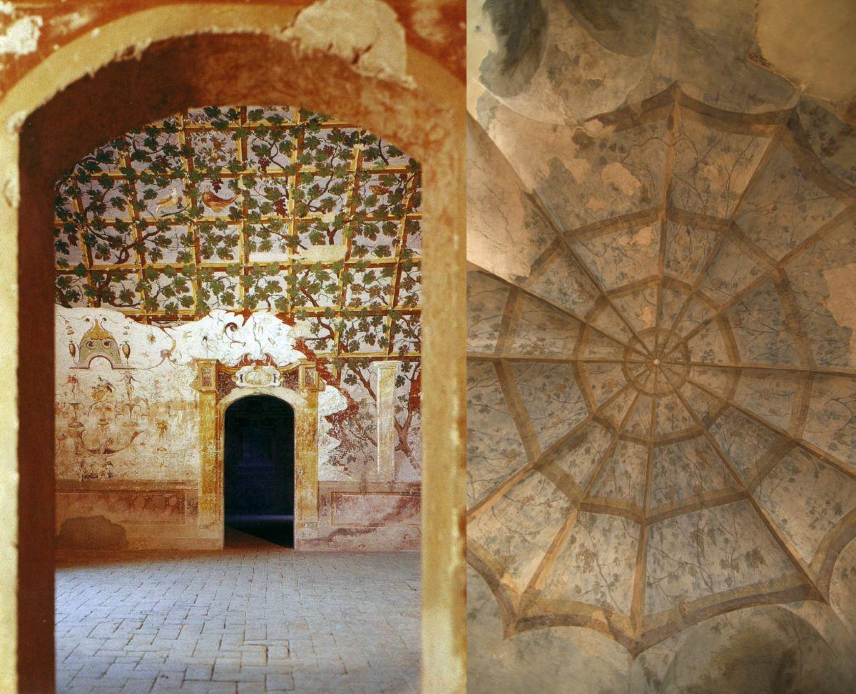 Il pergolato dipinto da Cesare Baglione nel castello di Torrechiara e la sala del pergolato nel Palazzetto Sanvitale a Parma